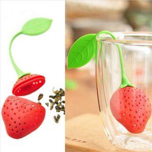 1Pc lovely Reuseable Foof safe Silicone Red Strawberry Shape Tea Leaf Bag Holder Tea Coffee Punch Filter Tea Infuser