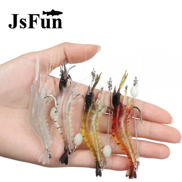 JSFUN 10PCS Silicone Shrimp Lure Lifelike Prawn 8 5cm 6g Soft Artificial  Bait With Hook Night Fishing Lure Fishing Tackle fu2001
