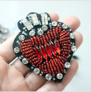 Beaded Heart Shaped Patch for Clothing Sewing