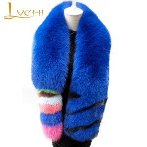 LVCHI Women Natural Real Fox Fur Scarves