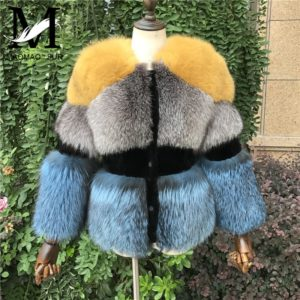 New Real Silver Fox Fur Coat for Women
