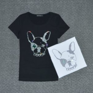 Cartoon Dogs Print Short Sleeve Summer Top