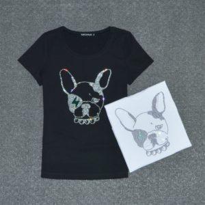 Cartoon Dogs Print Short Sleeve Summer Top