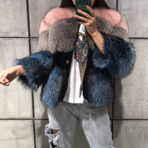 women real fur jacket natural